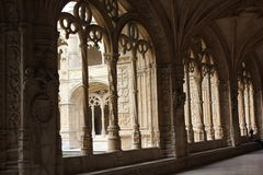 Arched window of the cloister of Jeronimos Monastery Stock Images