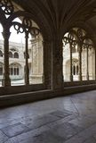 Arched window of the cloister of Jeronimos Monastery Stock Photo