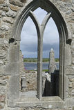 Arched window detail, Clonmacnoise monastic site Stock Photo