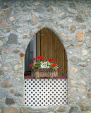 Arched window flower box Stock Photo