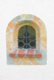 Arched window with marble frame Stock Photo
