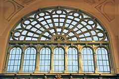 Arched window in museum Stock Photo