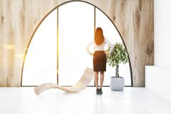 Arched window wooden living room, deck chair woman vector illustration