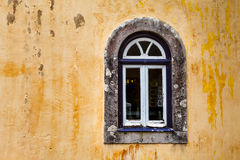 Arched Window on Yellow Wall of Pena Palace, Sintra Stock Photos