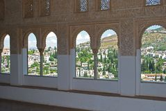 Arched windows, Alhambra Palace. Royalty Free Stock Photography