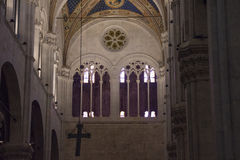 Arched windows of the interior view of Lucca Cathedral. Cattedrale di San Martino. Tuscany. Italy. royalty free stock photo