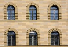 Arched windows in old building Stock Images
