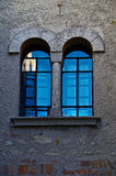 Arched Windows Turquoise Reflection Stock Photo