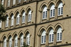 Architecture: Close up of Lancent Arched Windows with Glass Pane Royalty Free Stock Photos