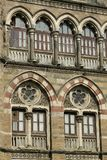 Architecture: Close up of Lancent Arched Windows with Glass Pane Royalty Free Stock Image