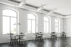 Arched windows white bar inteiror, side view Stock Image