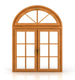 Arched wooden window. Isolated on white background Stock Photography