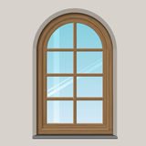 Arched wooden window Stock Image