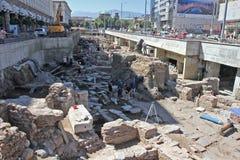 Archeolodzy kopią stare ruiny Antyczny Serdika, kościół St Nedeliya w centrum Sofia, Bułgaria †'Aug 29, 2012 Stary Serdica Fotografia Stock