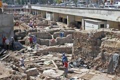 Archeolodzy kopią stare ruiny Antyczny Serdika w centrum Sofia, Bułgaria †'Aug 29, 2012 Odgórny widok Antyczny Stary Serdica Obraz Royalty Free