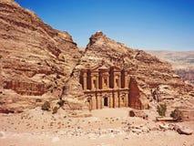 Archeological περιοχή της Petra Ιορδανία - αγγελία Deir - το μοναστήρι Στοκ φωτογραφία με δικαίωμα ελεύθερης χρήσης