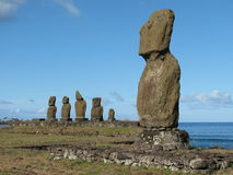 Archeological complex on the Easter Island. Royalty Free Stock Images