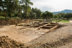 Archeological dig site. Ancient Olympia, Greece. Unesco world heritage royalty free stock photo