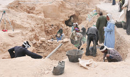 Archeological Dig, Valley of the Kings, Egypt. VALLEY OF THE KINGS, EGYPT - DECEMBER 31, 2008: Archeological Dig in the Valley of the Kings, Egypt royalty free stock photography