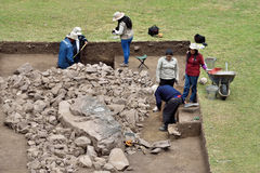 Archeological excavation in Machu Picchu site Stock Photos