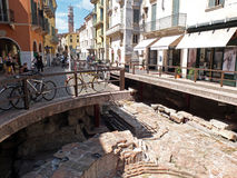 The archeological excavation in Verona Stock Images