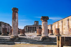 Archeological excavations of Pompeii, Italy. The Basilica in the archeological excavations of Pompeii, Italy Stock Images