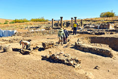 Archeological excavations in the Roman Sisapo City, La Bienvenida, Ciudad Real province, Spain Royalty Free Stock Images