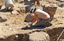 Archeological excavations in the Roman Sisapo City, La Bienvenida, Ciudad Real province, Spain Royalty Free Stock Photography