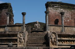 Archeological lokal av Polonnaruwa på Sri Lanka Arkivbilder