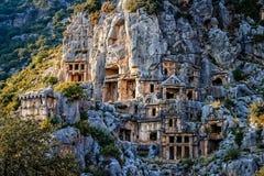 Lycian rock cut tombs in Myra Royalty Free Stock Image