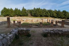Roman ruins in Conímbriga. Archeological remains of Roman city of Conímbriga in Portugal Royalty Free Stock Images