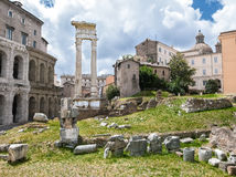 Archeological ruins in historic center in Rome Stock Photography