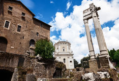 Archeological ruins in historic center in Rome Royalty Free Stock Photos