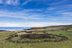 An Archeological site at the coast. At Easter Island, Chile stock photography