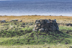 An Archeological site at the coast. At Easter Island, Chile stock image