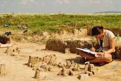Archeological tools, Archeologist working on site Royalty Free Stock Photography