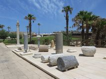 Archeologiczne ekskawacje na Cesareia Zdjęcie Royalty Free