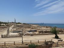 Archeologiczne ekskawacje na Cesareia Obraz Royalty Free