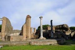Archeologiczny miejsce Ostia Antica który był starym portem Rzym w Włochy Obraz Royalty Free