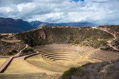 Archeologiczny miejsce przy mureną, podróży miejsce przeznaczenia w Cusco regionie i Święta dolina, Peru Majestatyczni koncentryc zdjęcia royalty free