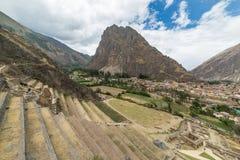Archeologiczny miejsce przy Ollantaytambo, inka Święta dolina miasto, specjalizuje się podróży miejsce przeznaczenia w Cusco regi Obrazy Stock