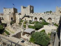 Archeologiczny park blisko wierza David w Jerozolima obraz stock