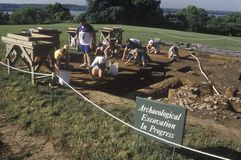 Archeologiczny podkopowy w toku przy Mt Vernon, dom George Washington, Aleksandria, Virginia fotografia royalty free