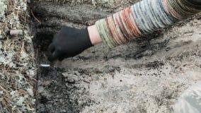 Archeologie - veeg de muren van de uitgraving stock footage