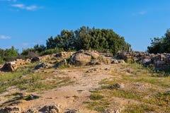 Archeologisch Gebied Stageira Ruïnes van oude Stagira, Griekenland royalty-vrije stock afbeelding