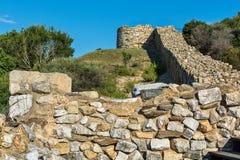 Archeologisch Gebied Stageira Ruïnes van oude Stagira, Griekenland stock foto's