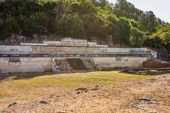 Archeologisch Gebied Stageira Ruïnes van oude Stagira, Griekenland royalty-vrije stock afbeeldingen