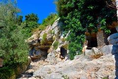 Archeologisch gebied van ispica stock fotografie