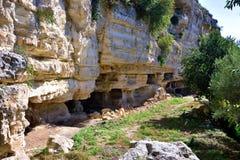 Archeologisch gebied van ispica stock foto's