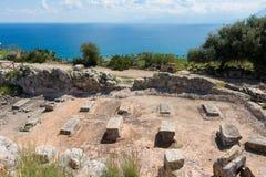 Archeologisch gebied van Solunto, dichtbij Palermo, in Sicili? stock foto